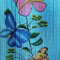 Bamboo door curtain with Butterflies on blue background