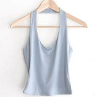 Halter Crop Top - Dusty Blue
