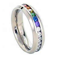 Rainbow Super Full String Clear & Rainbow Ring. Gay & Lesbian Pride Stainless Steel Ring (Great as Gay Gift or Wedding Marriage or Engagement band w/ CZ Stones)