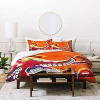 Clara Nilles Jeweled Octopus On Tangerine Duvet Cover