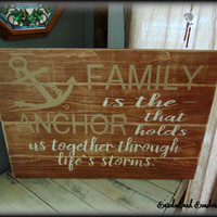 Plank Style Sign, Pallet Style Sign, Large Wooden Sign, Stained Sign, Family Plaque, Nautical Decor, Rustic Sign,Primitive Decor,Anchor Sign