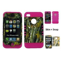 BUMPER CASE FOR IPHONE 4 SOFT HOT PINK SKIN HARD FOREST CAMO BIG BRANCH COVER