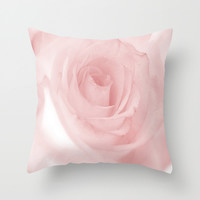 Pale Pink Rose Throw Pillow by Colorful Art