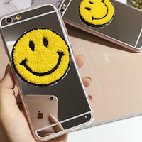 Cosmetic Mirror Smiling Face Case Cover for iphone 5s 6 6s Plus Gift + Gift Box