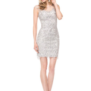 COLORS 1535 Embroidered Lace Cocktail Dress Mother of the Bride