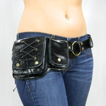 Hip Pack Lace Design Leather Utility Belt - Black (Great Festival Belt. Great storage. Large enough to store most ANY phone on the market)