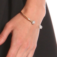 CRYSTAL BALL TIP CUFF BRACELET - GOLD