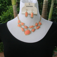 Peach Chunky Gold Rimmed Necklace & Earrings