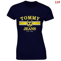 Tommy Fashion New Bust Letter Print  Sports Leisure Personality T-Shirt Top Women 11#