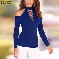 New Arrival ZANZEA Women 2016 Autumn Sexy Off Shoulder Blouses Tops Vintage Turtleneck Long Sleeve Hollow Solid Blusas Shirts