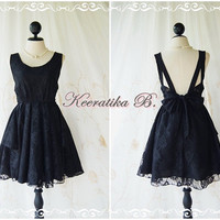 A Party Dress V Shape - Cocktail Dress Wedding Bridesmaid Dress Party Prom Dress Backless Dress Homecoming Black Lace Dress Roses Lace Dress