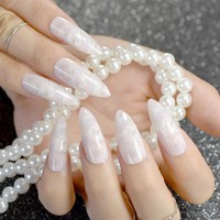White Jade Marble Shell Stiletto False Nail Extra Long Sharp White Pink Stone Texture Fake Nails Faux Ongles Acrylic Nails Tips