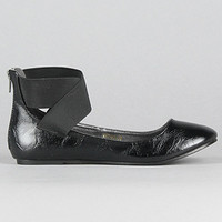 *Sole Boutique The Oriana Elastic Ankle Flat in Black
