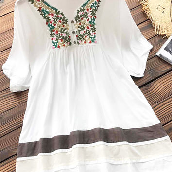 Cupshe Easy Breezy Embroidered Tunic Top