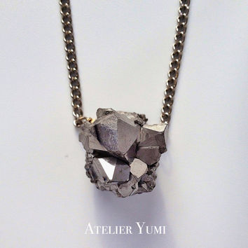 Silver Druzy Necklace, Statement Necklace by Atelier Yumi