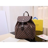 hcxx 1746 Louis Vuitton LV Sperone damier aur White-checked schoolbag White-checked bucket shoulder bag brown
