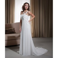 Chiffon V-shaped Strap with A-line Gown and Skirt with Sweep Train 2012 Casual Wedding Dress - Basadress.com