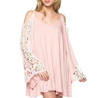 Crochet Trim Bell Sleeve Dress - Light Pink