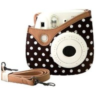 Colorful Dots Spot Camera PU Leather Case Bag For Fujifilm Instax mini 8 + Free Shoulder Strap - Brown