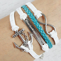 """Infinity, """"Where there is a will, there is a way"""",Anchor Bracelet-Silver, Wax Cords, Leather Braid Bracelet-Best Gift N0061"""