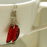 Watermelon Charm Earrings, Black and Red Watermelon Slice Glass Lampwork Beaded Earrings - Cute Womens Earrings
