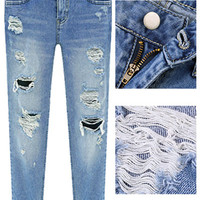 Blue Bleached  Distressed Ripped Frayed Jeans