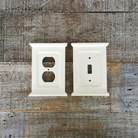 Light Switch Cover and Outlet Cover White Light Switch Plate and Outlet Cover Matching Set Cottage Chic Home Improvement Farmhouse Chic