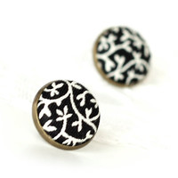 Black Tendrils Earring Studs - Stud Earrings - Black and White Fabric Buttons Jewelry - Elegant Earring Posts