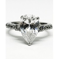 A Flawless 3.4CT Pear Cut Solitaire Russian Lab Diamond Engagement Ring