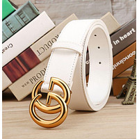 GUCCI Belt Woman Men Fashion Smooth Buckle Belt With Gift Box Yellow