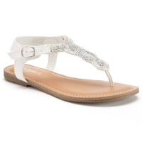 Candie's Women's Beaded Thong Sandals (White)
