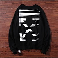 Off White Fashion Autumn And Winter New Letter Arrow Print Women Men Long Sleeve Top Sweater Black