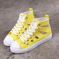 Summer fashion casual wild hollow sports flat with lace high canvas shoes