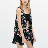 Floral Sleeveless Cover-up designed with Tassel