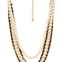 FOREVER 21 Faux Pearl and Woven Necklace Gold/Black One