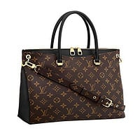 LV Women Shopping Leather Tote Handbag Shoulder Bag Louis Vuitton Monogram Canvas Pall
