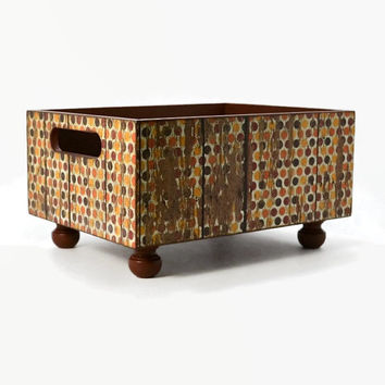 A table centerpiece decorative box, fall table décor, storage bin, office organizer in a weathered barn wood with polka dots in fall colors