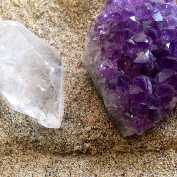 Crystal Duo Amethyst Geode and Clear Quartz Crystal Stone Pair Crystal Collection Healing Crystals and Stones Healing Gems Chakra Stones