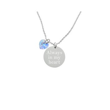 5.78 Grams Sterling Silver Inspirational Necklace With Swarovski By Pink Box