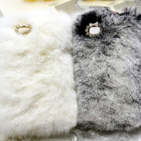 Handmade Warm Fur Case for iPhone 4 & 4S: Lovely Seto Rabbit Skin with rhinestones around the camera hole (customized are welcome)