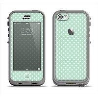 The Light Green with White Polkadots Apple iPhone 5c LifeProof Nuud Case Skin Set