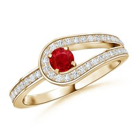 Solitaire Round Ruby and Diamond Infinity Love Knot Ring