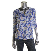 Karen Scott Womens Petites Knit Printed Henley Top