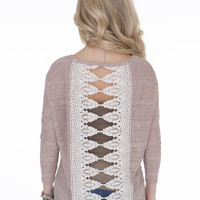 Taupe Knit Lace Back Top