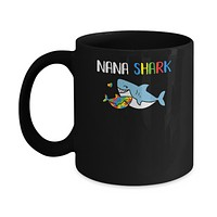 Nana Shark Support Autism Awareness For Grandchild Mug