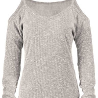 Cupshe No Chill Ribbed Off the Shoulder Sweater