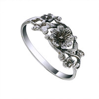 Flower and Leaf Light Weight Sterling Silver Ring