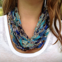 Rendez-Vous ( Blue ) Boho Infinity Chain Scarf, Blue Infinity Scarf, Boho Crochet Scarf