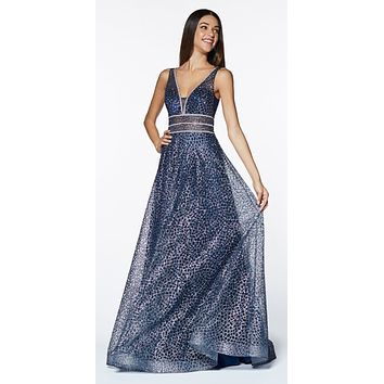 Navy Blue Long A-line Prom Dress V-Neck and Back