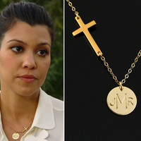 Gold Personalized Cross Necklace, 14k Gold Monogram Necklace, 1 2 3 Initial Necklace, Customizable Gift, Celebrity Style.Gold Sideways Cross